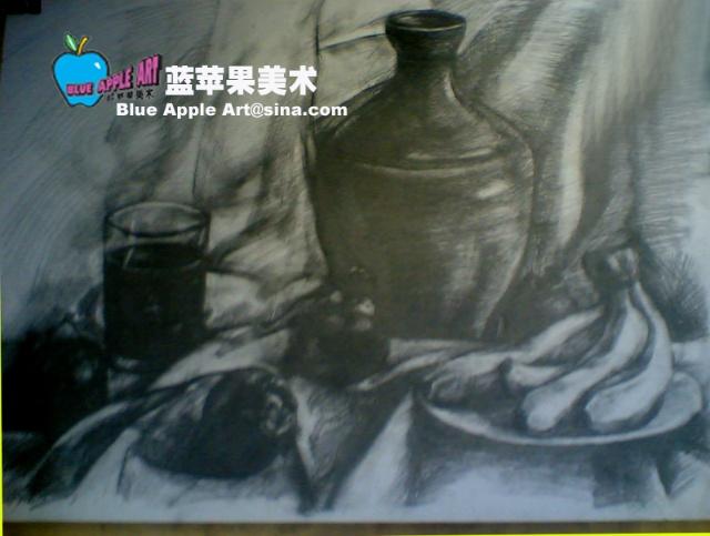 罐子和苹果素描步骤