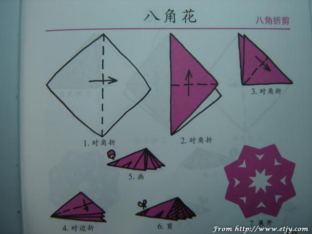 六折团花剪纸图案画法