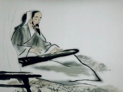 古琴手绘图片唯美