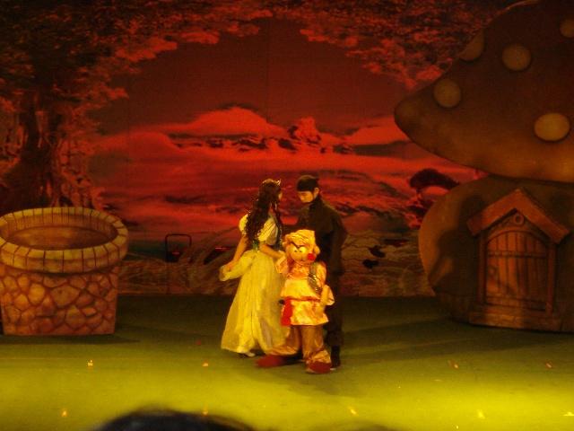"""去年秋天安陽第一次試演北京快樂童年人偶話劇《白雪公主和七個小矮人》,呃,進場後才發現:幾乎全是小朋友,我們幾個年齡都在20歲以上的真覺得好丟人~~ 不過,現場氣氛感覺很好,特別是白雪公主和台下小朋友的互動環節(害我們都想下去跟他們一起玩,後來考慮這麼大年齡的人了,還是少丟點人吧```),當白雪公主要吃下毒蘋果的時候,台下小朋友齊喊著:""""白雪公主,蘋果有毒,不能吃,不能吃."""
