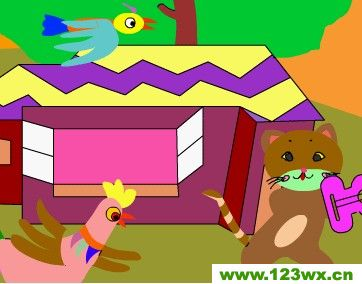 幼儿简笔画房子和鸟