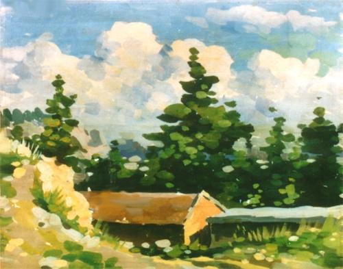 2007年梁山泊水粉画风景写生
