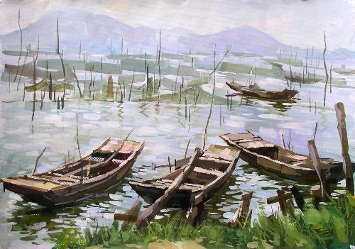 2007年梁山泊水粉画风景写生高清图片