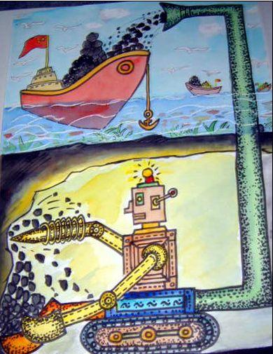 海底环保儿童绘画作品