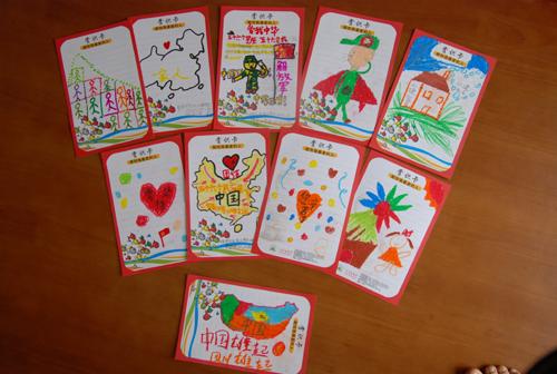 上图:汇景国际小学,幼儿园的爱心卡图文并茂,孩子们的用心