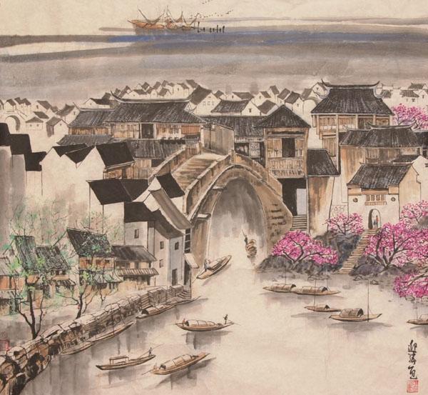 小桥流水人家水彩笔画