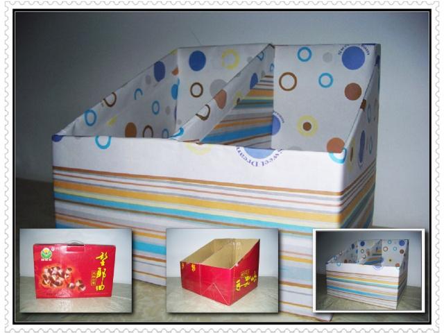 用废纸盒做书架