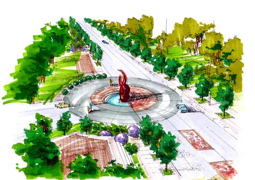 树阵广场设计手绘