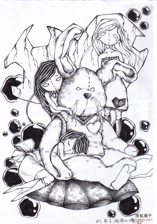 小愣的手绘插图,各种涂鸦~请多多指教~黑白版