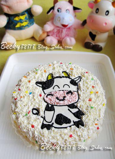 祝你牛年大吉~可爱的【奶牛蛋糕】(8寸可可戚风)