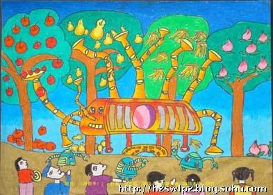 小学放飞梦想科技城市绘画作文