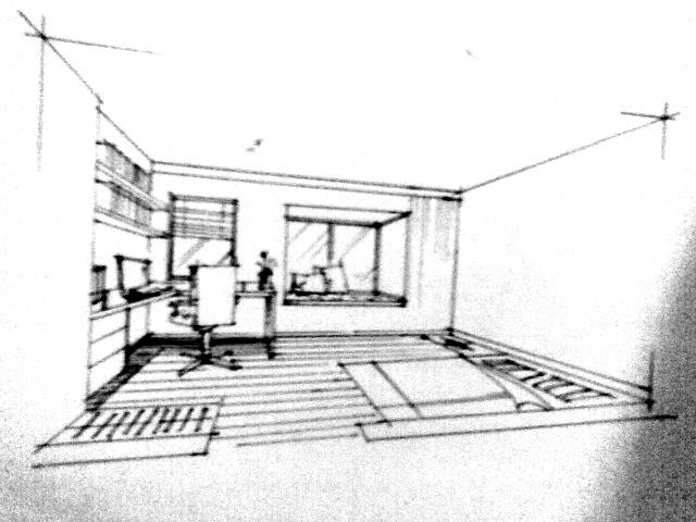 欧式书房手绘效果图;