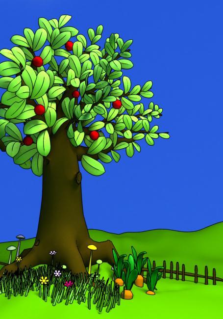小孩子都喜欢卡通画:颜色简洁明快,那就用软件里的卡通功能吧.