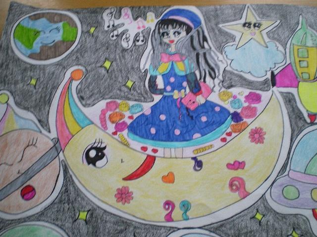 四年级画荷花的步骤图水彩笔图