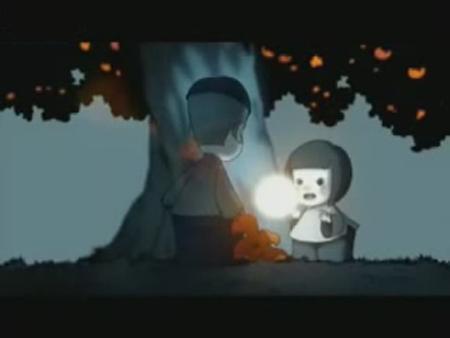 小姑娘想要月亮,小男孩就承诺她种个桔子树