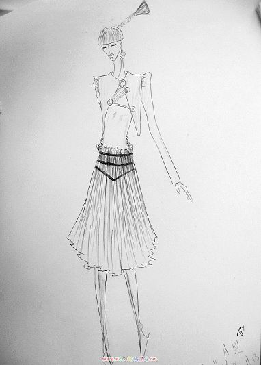 点线面服装款式图手绘