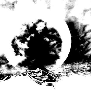 河手绘黑白画