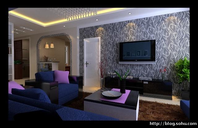 电视背景墙设计效果图-100平米2室1厅 现代风格装饰 实创装饰