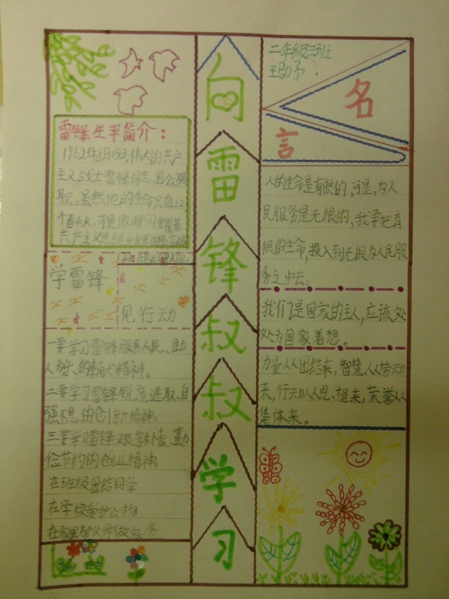 今天是学雷锋日,我画了一张手抄报,纪念雷锋叔叔的光辉事迹,要以图片