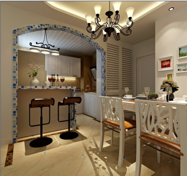 餐厅装修效果-远洋一方地中海风格60平小两居经典浪漫