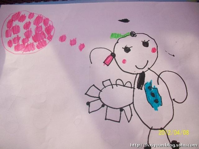 手拿卡片,正在动脑思考的小姑娘(麦兜说左上方那些粉色的圈圈,代表小