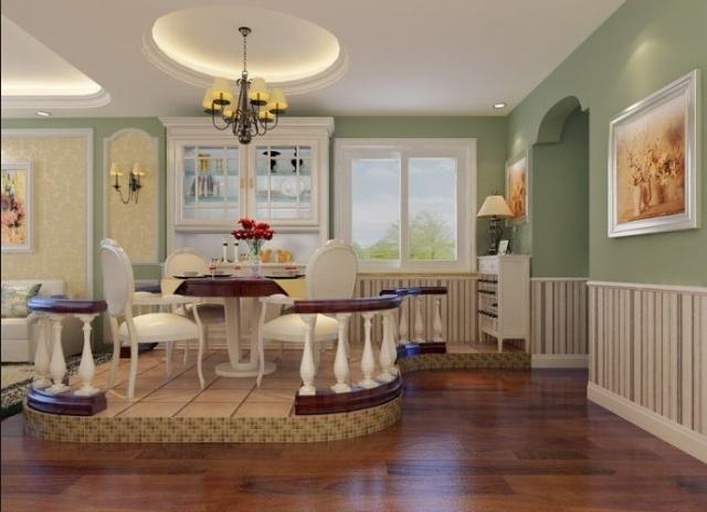 东方太阳城120平绿色典雅,高贵简欧式花园洋房-餐厅设计