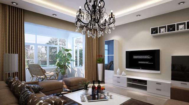 众美城廊桥四季 二居室 90平米 客厅装修效果图