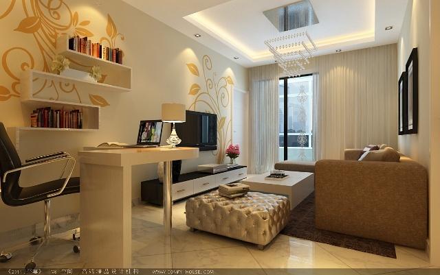 主卧室床头背景利用石膏板做造型,与壁纸和软包相搭配,加上室内白色